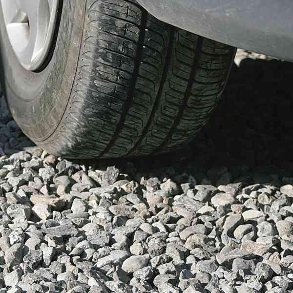 Caravan tyre on gravel