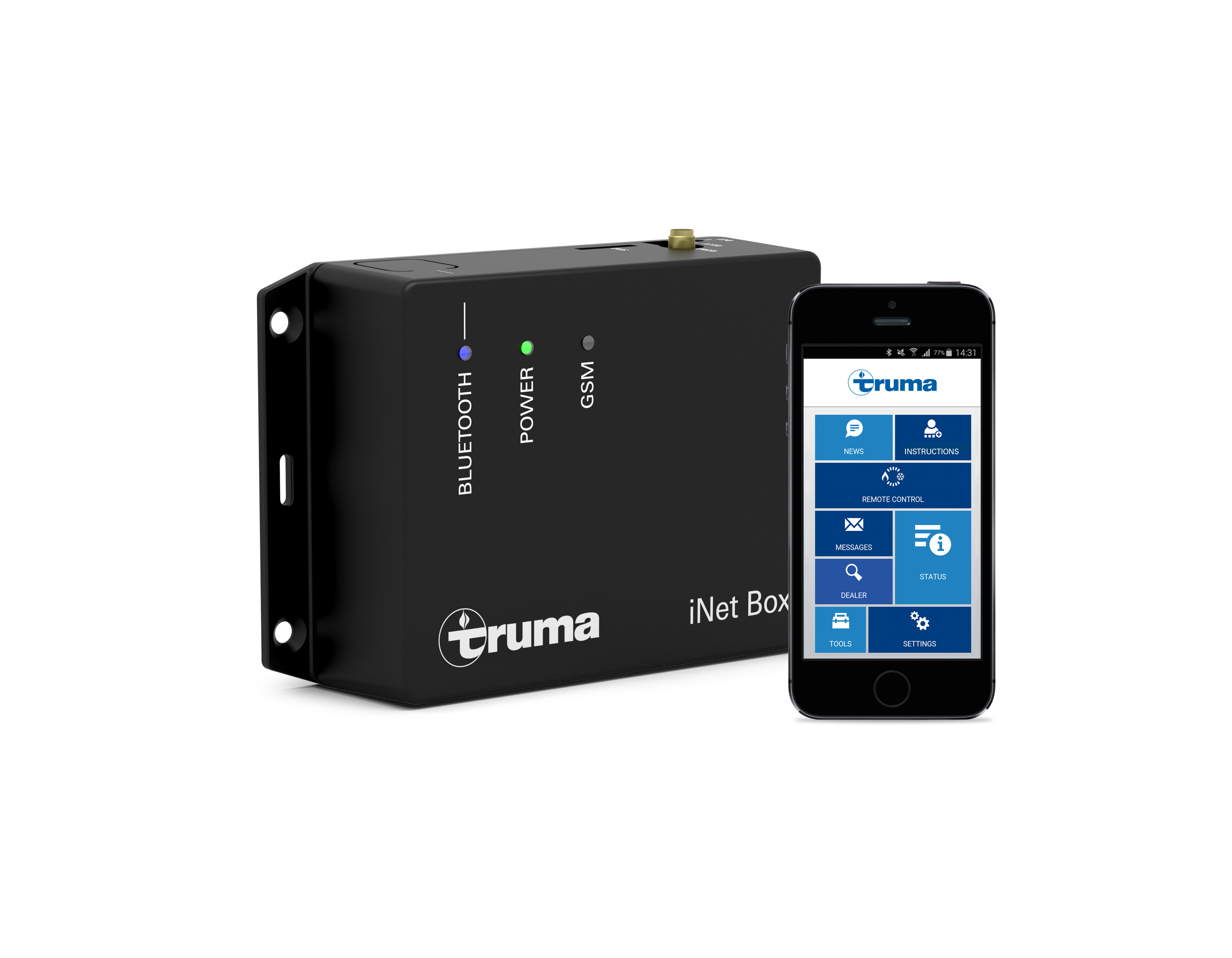 Truma iNet Box beside smartphone with the english Truma App