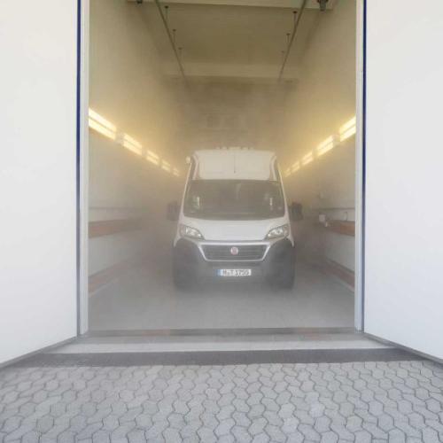 Van inside climate chamber