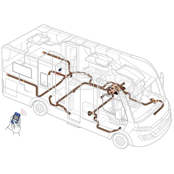 Example for the warm air distribution with a Combi heater in a fully integrated motor caravan