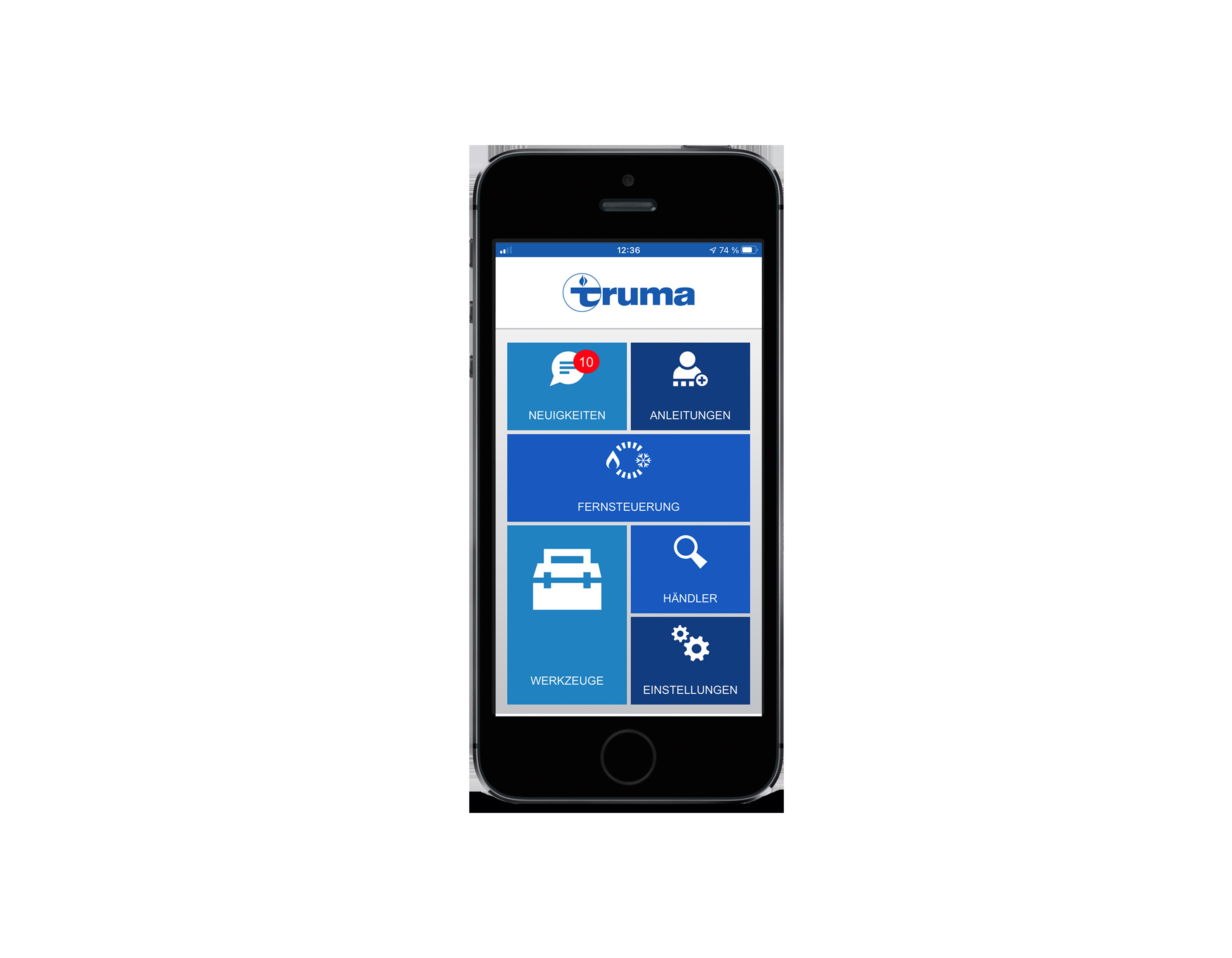 Truma App german Startscreen