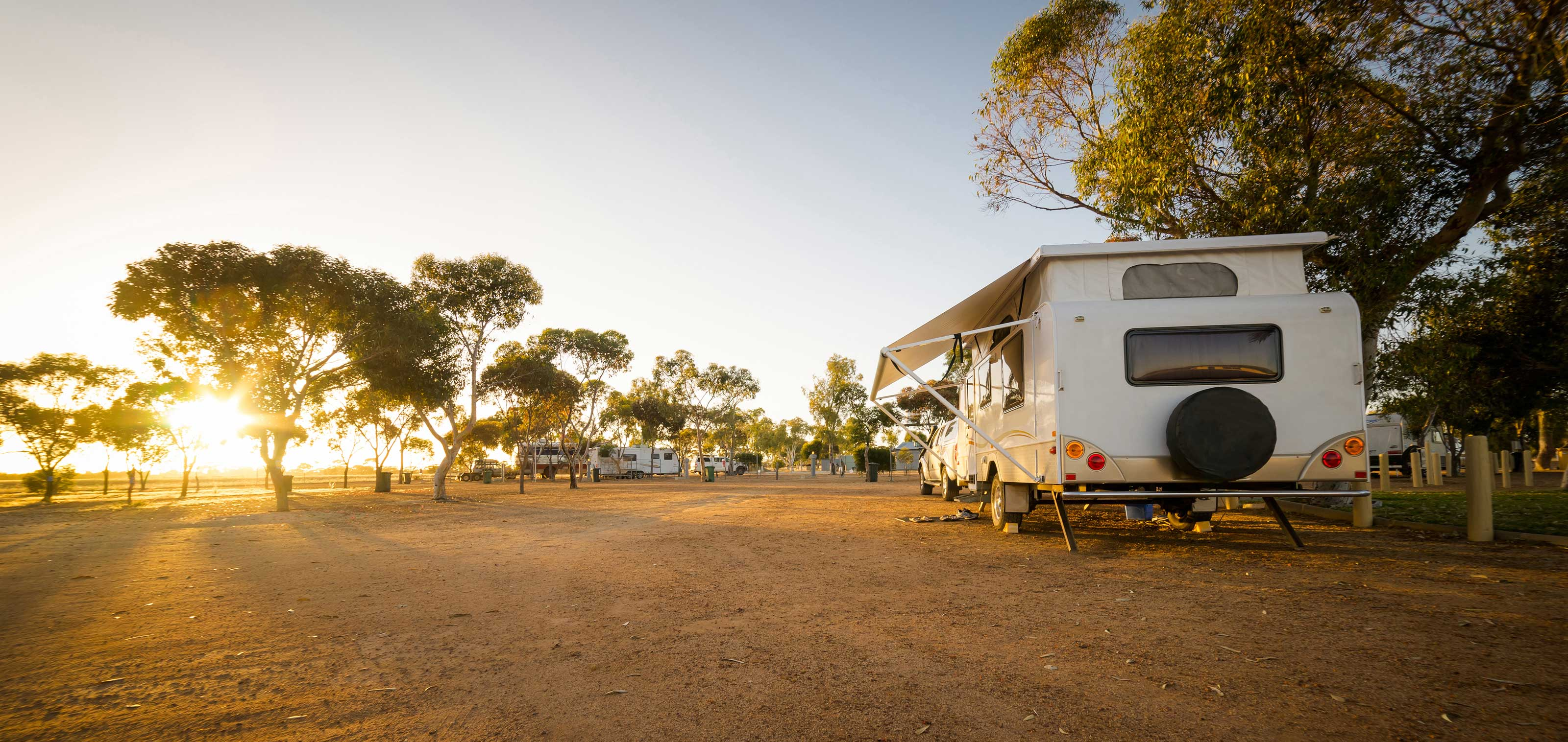 Motor caravan on a campground in Australia